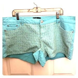 Teal lace accent shorts